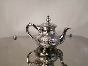 Moroccan royal teapot tea set handmade silver authentic morocco Fez Medium size