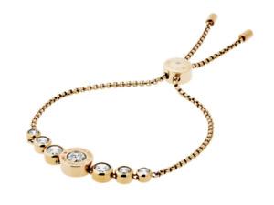 MICHAEL KORS Brilliance Yellow Gold Bracelet Slider Crystals MKJ5334710 + MK BOX