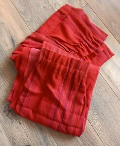 MCM Vintage Flame Red Striped Curtains In A Linen /Wool Look Weave Fabric B