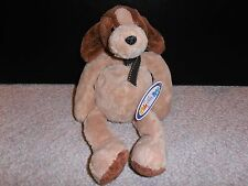 "New Mary Meyer Brown Beige 12"" Pudgies Dog Plush Stuffed Animal Bean Bag Fun Toy"