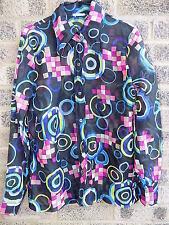 60s 70s  vintage multi coloured geometric patter dagger collar shirt blouse MOD