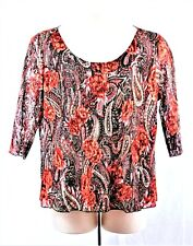 ONLY 9 Women's Lined Lace Pull Over 3/4 Sleeves Top Size 2X  18/20W