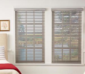 Room Darkening Driftwood Gray 2 in. Cordless Faux Wood Blind 27 in. W x 64 in. L