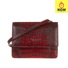 RRP €740 SANTONI Leather Crossbody Shoulder Bag Crocodile Pattern Made in Italy