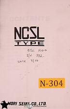 Mori Seiki DSL 1000, NCSL Parts List Manual Year (1978)
