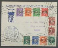1944 Env. Libération de LOCHES + Cachet Bleu FFI. RARE. SIGNE MAYER X2542