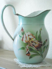 """Rare Antique French ENAMELLED PITCHER """"PURPLE IRIS"""" by JAPY FRANCE 1920's"""