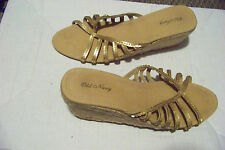womens old navy gold sequin strappy open heel straw wedge shoes size 8