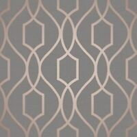 Contemporary Geometric lines modern wallpaper gray rose gold metallic trellis 3D