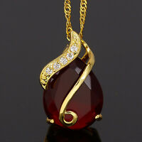 Modeschmuck 18K Gold Vergoldet Birne Rot Rubin Geschenk Anhaenger Halskette
