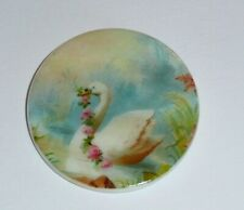 """Beautiful Swan w/ FlowerGarland on MOP - Mother Pearl Shank Button 1-3/8"""""""