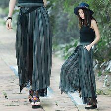 Damen Ethnisch Haremshose Röcke Vintage Spitze Boho Lockere Hose Hosenrock Neu