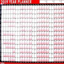 2019 A1 Laminated Yearly Wall Planner Calendar Wipe Dry Pen & Sticker Dot 3805