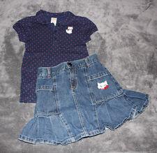 Gymboree HOMECOMING KITTY 2pc Outlet Navy Dot Shirt Denim Skirt 6