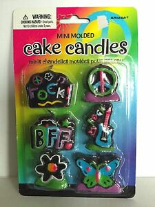 Rocker BFF Neon Black Candles Set of 6 Peace Sign Guitar Butterfly Daisy