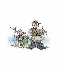 Father Son Fishing HEAT PRESS TRANSFER for T Shirt Sweatshirt Tote Fabric 739j