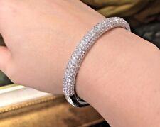 Diamond Pave Bangle Bracelet 8.28 ct VS-G in 18k White Gold - HM1882