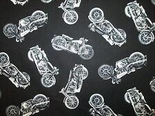 MOTORCYCLE CLASSIC BIKER VINTAGE BLACK WHITE COTTON FABRIC FQ