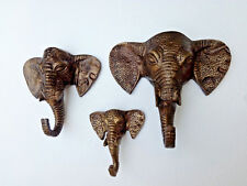 Metal Elephant Trunk Coat Hook Large Set of 3 Pcs Size 8/6/4 inches Figurine