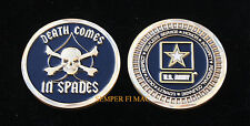 DEATH COMES IN SPADES AUTHENTIC US ARMY USA CHALLENGE COIN SKULL SPECIAL OPS WOW