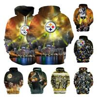 Pittsburgh Steelers Men Football Hoodie Hooded Sweatshirt Jacket Fan's Casual