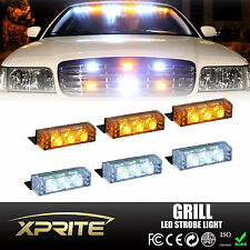 18 White Amber Color LED Emergency Vehicle Flash Strobe Lights Front Grill Deck