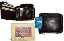 Men's Zip around Leather Wallet. Bifold zip around wallet Buff leather in box