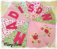 Baby Girl Personalised Name BUNTING DESIGNER Fabric Inc CATH KIDSTON Pink Green