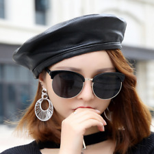cf2ada72aea 2018 Women s Fashion Sheepskin Genuine Leather Black Beret Cap Casual Hat  New