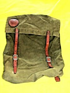 Vintage Olive Canvas & Leather MONARCH BRAND #51 Duluth Pack Backpack Canoe Bag