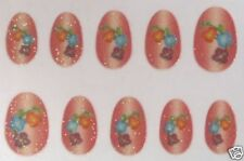 Faux Ongles souples Rouges Fleur Liseron Autocollants Brillants paillettes soiré