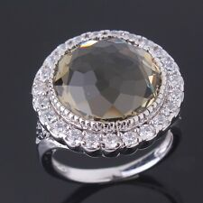 18k white gold filled Unique Woman gray sapphire crystal charming ring SzM-T