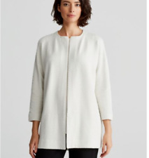 NEW Eileen Fisher Jacquard Knit Bracelet Sleeve Long Jacket- Bone S #S1379