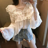 Womens Chiffon Ruffle V Neck Tops Victorian Lace Shirt Frill Long Sleeve Blouse
