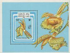 LAOS Bloc N°85 ** Bf fleurs, Orchidée 1985, flowers, orchids Sheet SC#644 MNH