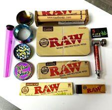 Smoking Bundle Set - Raw Rolling Papers, Rainbow Grinder, Pipe, Metal Tin, Tips