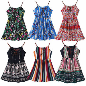 Summer Girls Casual Beachdress Above Knee Length Floral Printed Suspender Dress