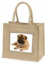 Bear Coated Shar-Pei Puppy Dog Large Natural Jute Shopping Bag Christ, AD-SH2BLN