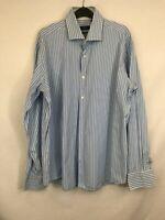 Hugo Boss men's shirt regular fit collared blue mix striped cotton size 43/17 00