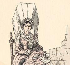 Ancienne gravure aquarellée costume de mariée Bayeux Calvados Normandie