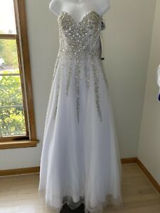 Formal Alyce ball gown with glitter trim