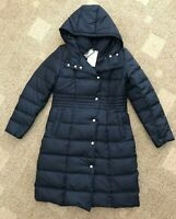 Cole Haan Womens Down Hooded Long Puffer Coat Navy Blue Size Medium M