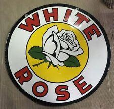 """Vintage White Rose Gasoline Porcelain Sign Size 36"""""""