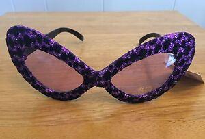 Elope 5TH AVENUE GLITTER Costume Cat Eye Glasses Purple 50s Carnival Mardi Gras
