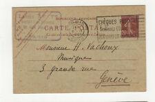 1922 France semeuse entier postal sur carte postale flamme chèques postaux /B5A3