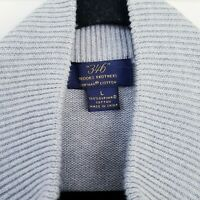 "Brooks Brothers ""346"" Mens Grey Cardigan UK L Supima Cotton Zip Knitted Jumper"