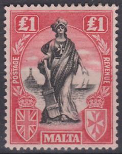 Malta 1925 Mint Mounted £1 Black & Bright Carmine SG140 Cat £110 SUPERB CENTRE