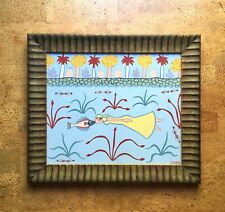 """Tropical Postmodernist Painting, Kissing Fish, Artist Signed Cuba 17x20"""""""