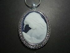 "CAMEO RHINESTONE NECKLACE VIRGIN MARY MOTHER BABY JESUS 20"" chain BLUE"
