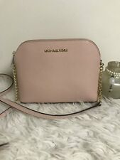 3de36368f468 Michael Kors Cindy Dome Saffiano Leather Crossbody Pastel Pink back slip  pocket